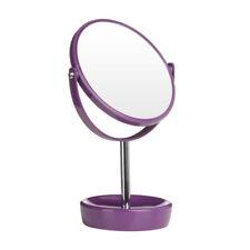 Swivel Table Mirror Purple Plastic & Chrome Magnifying Option Make Up