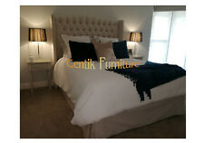 KING BED HEAD  DIAMOND BUTTONED WINGED BACK UPHOLSTERED BEDHEAD HEADBOARD