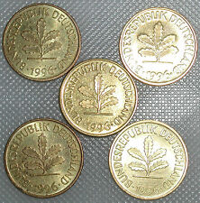 5 Pfennig 1996 A D F G J Kompletter Satz
