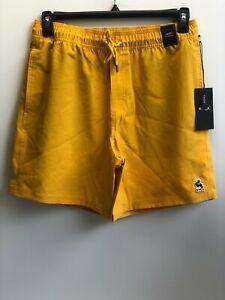 RVCA Men's Yellow Drawstring Elastic Trunk Stretch Swimwear Shorts Size Medium