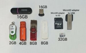 Lot of 6 USB Flash Drive + Micro SD + USB Adapter + SD Adapter