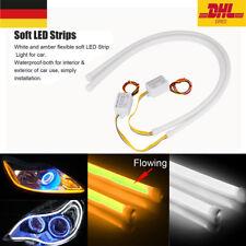2x flexibler Rohr Dynamische LED Streifen DRL Tagfahrlicht Blinker Lampe Leuchte