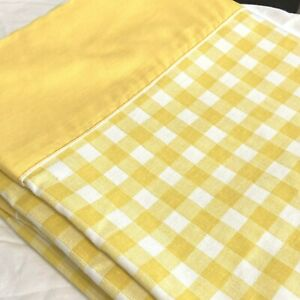 Vintage 60s 70s JCPenney Yellow Large Check Gingham Plaid FULL Flat Sheet 82x92