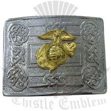 NUOVO Tradizionale Swirl Celtic Knot Cintura Fibbia cromata con noi Marine distintivo d'oro