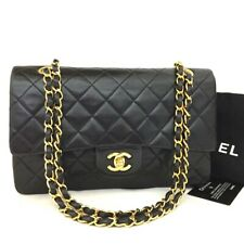 CHANEL Double Flap 25 Quilted CC Logo Lambskin w/Chain Shoulder Bag Black/20002
