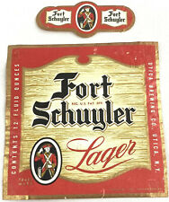 Vintage Fort Schuyler Lager Beer Can Bottle Label Utica Brewing New York NY 12oz