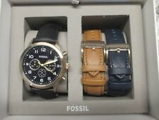 Fossil Flynn Pilot CHRONOGRAPH BROWN LEATHER WATCH Set New in box