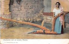 MUCHACHA CON UN ARADO MEXICO WOMAN POSTCARD (c. 1910)