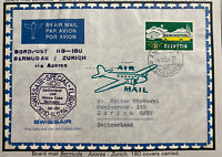 1954 Zurich Switzerland Special Flight Airmail Cover To Bermudas 180 Only
