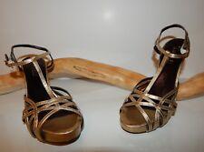 NEW Amalfi GOLD Leather Platform Strappy Dressy Heels 6 M