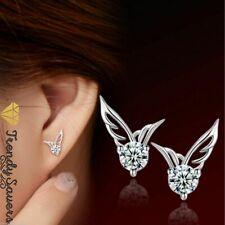 Women/Girls 925 Sterling Silver Crystal Butterfly/Angel wings Stud Earrings