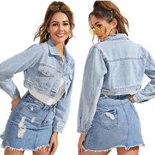 Mujeres Moda Abrigo Chaqueta corta recortada Denim Jeans Botones de manga larga Prendas de abrigo