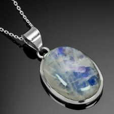 Designer 925 Sterling Silver Moonstone Big Pendant Gemstone Necklace With Chain