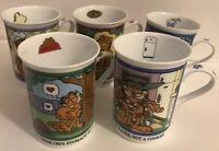 Set Of 5 Garfield Porcelain Collector Mugs The Danbury Mint Hard To Find