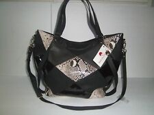 NEW BIG BUDDHA WOMENS PATCHWORK CROSSBODY HANDBAG TOTE FAUX LEATHER EXTRA LARGE