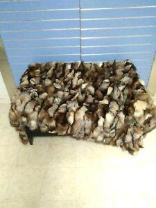 Luxury Brown Crystal Fox Fur Throw Real Fox Fur Blanket / Bedspread