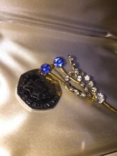 With Rhinestones & Faux Sapphires A Lovely Gold Tone Brooch