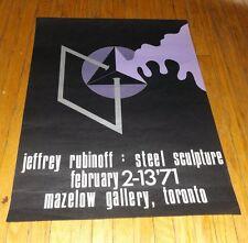 ORIGINAL POSTER JEFFREY RUBINOFF STEEL SCULPTURE 1971 Mazelow Gallery Toronto