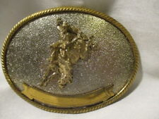 GERMAN SILVER Two Tone Oval Belt Buckle w/ Bucking Bronco Space for Engraving