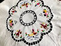 Vintage Hand Embroidered Off White Cotton FIGURES Circular Table Centre Cloth