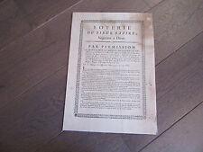 AFFICHE 1769 JEUX LOTERIE SIEUR BAZIRE NEGOCIANT A DIJON ORIGINALE