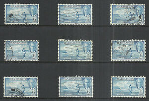 BARBADOS SCOTT 220 USED x 9 - 1950 6a BLUE KING GEORGE VI ISSUE  CAT $22.50