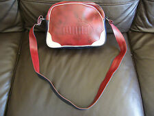RETRO PUMA CROSS BODY BAG NAVY BLUE BURGANDY UNISEX VINTAGE? FAUX LEATHER VGC