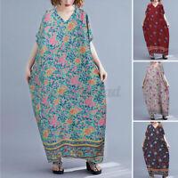 UK Womens Summer Bohemia Short Sleeve Floral Kaftan Loose Baggy Long Maxi Dress