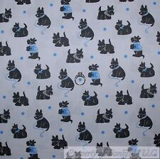 BonEful Fabric FQ Cotton Quilt VTG Gray Blue Dot DOG Scottie Scottish Terrier US