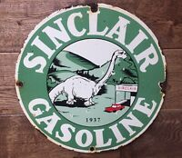 Vintage Sinclair Gas Dinosaur Heavy Porcelain Pump Plate Sign 12""