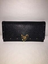 Lovcat Wallet Black Leather Gold Locking Heart Accents-Pink Heart Interior