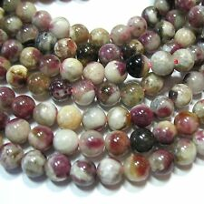 "Pink Tourmaline 6mm Round Beads 15.5"" Natural Genuine Stone in Quartz Matrix"