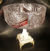 Antique Cut to Clear Crystal Compote Pedestal Bowl Porcelain Floral Accent Italy