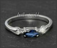 Diamant & Saphir Damen Cocktail Ring, Antik um 1920, 585 Gold
