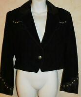 Pioneer Wear  Black Suede Leather Studded Yoke Jacket Western Cropped  S