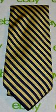 BROOKS BROTHERS MAKERS Pale Gold Navy Blue Diagonal Narrow Stripe Tie