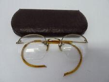 ANTIQUE SHURON 12K GF GOLD FILLED 1/10 WIRE RIM HEXAGON EYEGLASS FRAMES W/CASE
