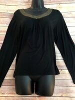 Chicos Womens SZ 2 M Black Long Sleeve Sequined Neckline Top Blouse Rayon Blend