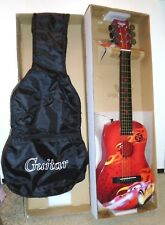 Disney Pixar Cars Movie First ACT ACOUSTIC GUITAR In Box W/Case 6 Cords 1 Pick