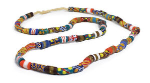 """Ghana African Trade Bead Long Necklace 
