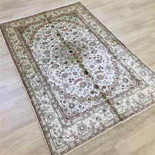 YILONG 4'x6' White Handmade Silk Area Rug Home Decor Hand Knotted Carpets 050C