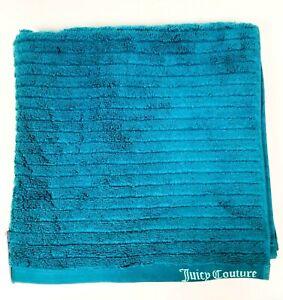 NEW JUICY COUTURE TEAL BLUE STRIPES 100% COTTON PLUSH BATH TOWEL