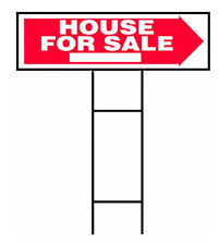 "Hy-Ko RS-801 House For Sale Lawn Sign with H-Bracket, 10"" x 24"""