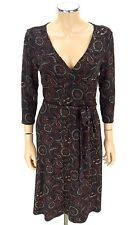 ANN TAYLOR LOFT PETITES Faux Wrap Dress SIZE 6P Black Maroon Floral Print Belted