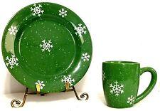 """Kelly Green Snowflake Holiday Printed Stoneware Mug and 10"""" Plate Set"""
