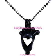 Black Baby Foot Footprint Necklace Akoya Oyster Pearl Bead Cage Pendant -H10