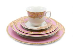 Elegant Byzantine Pink Floral Design 20 Pcs Dinner Set , Service For 4 Persons