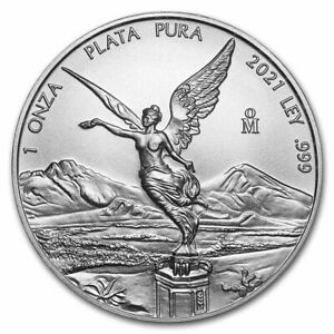 Mexico 2021 BU 1 oz .999 Silver Libertad, Mexican Coin. Free capsule and S/H.