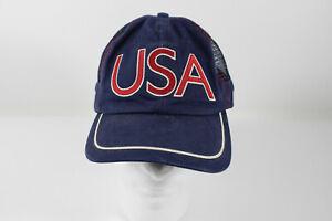 USA Olympics Hat 2004 Athens Greece Adjustable Strapback Blue Roots