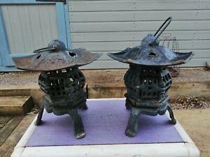 Pair of Vintage Japanese Pagoda Lamps /tea Lights Cast Iron Eastern